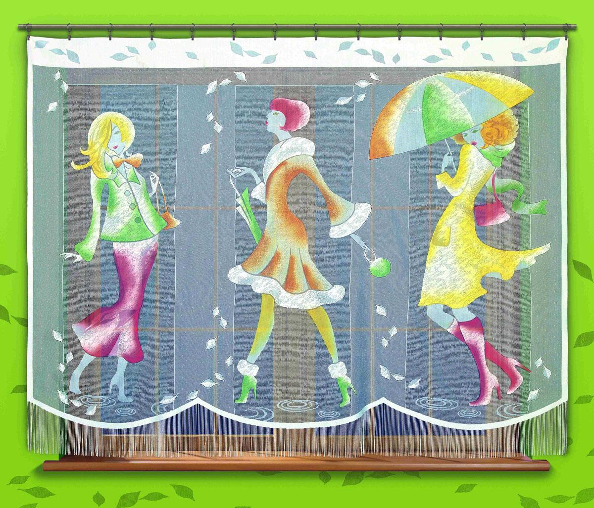 Гардина Pory Roku, цвет: белый, высота 180 см723942Оригинальная гардина Pory Roku, изготовленная из полиэстера белого цвета, станет великолепным украшением любого окна. Яркий принт в виде девушек и украшение в виде бахромы привлекут к себе внимание и органично впишутся в интерьер комнаты. Верхняя часть гардины не оснащена креплениями.
