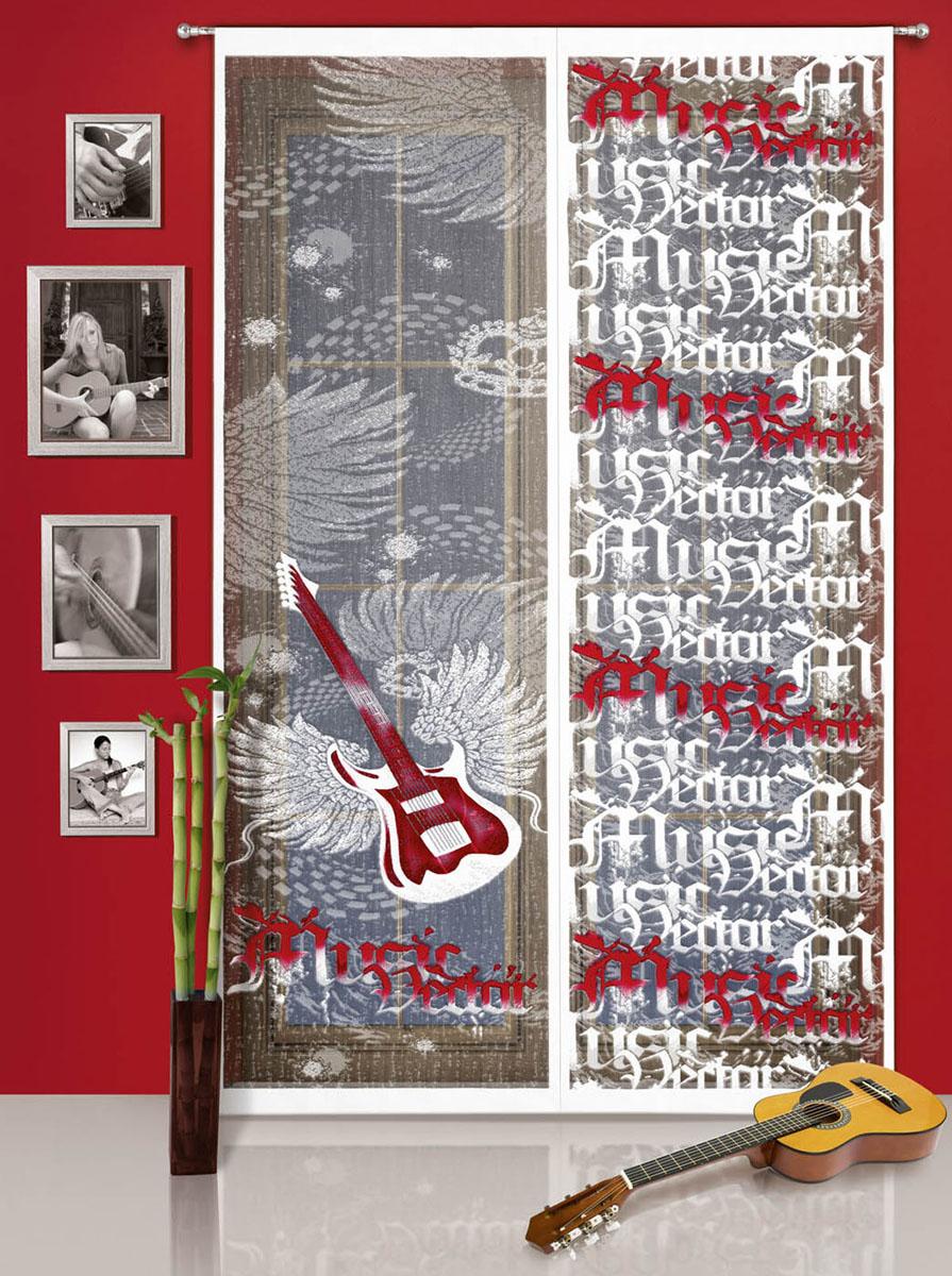 Гардина-панно Gitara, на кулиске, цвет: белый, красный, высота 240 см724291Воздушная гардина-панно Gitara, изготовленная из полиэстера белого цвета, станет великолепным украшением любого окна. Тонкое плетение и рисунок в виде гитары с надписями привлечет к себе внимание и органично впишется в интерьер. Гардина оснащена кулиской для крепления на круглый карниз.