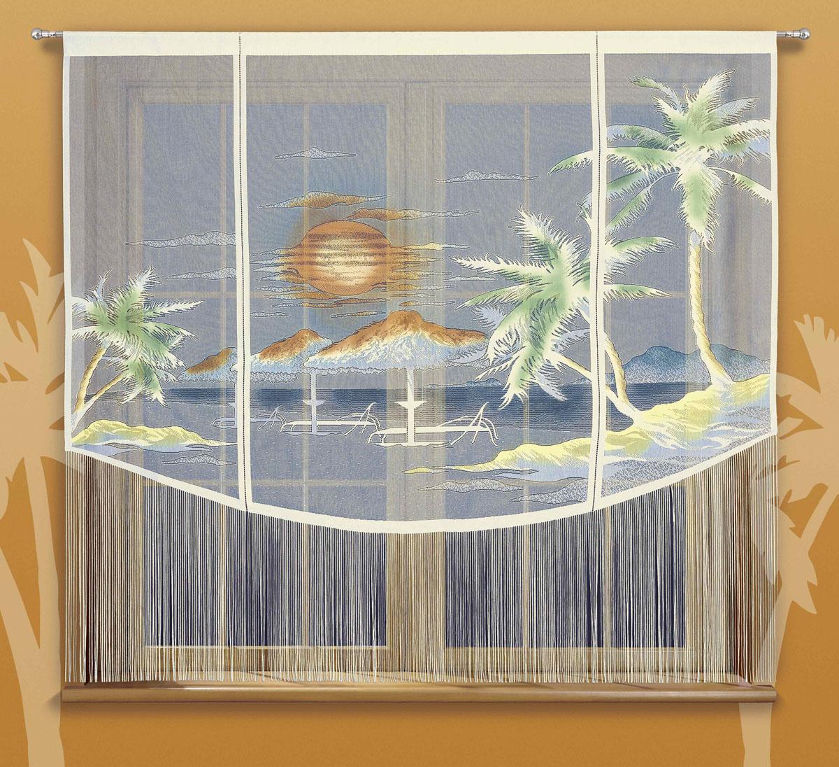 Гардина Karaiby, на кулиске, цвет: кремовый, высота 180 см724789Гардина Karaiby, изготовленная из полиэстера кремового цвета, станет великолепным украшением любого окна. Нижняя часть гардины декорирована бахромой. Тонкое плетение и рисунок в виде моря и пляжа привлекут к себе внимание и органично впишутся в интерьер. Верхняя часть гардины оснащена кулиской для крепления на круглый карниз.