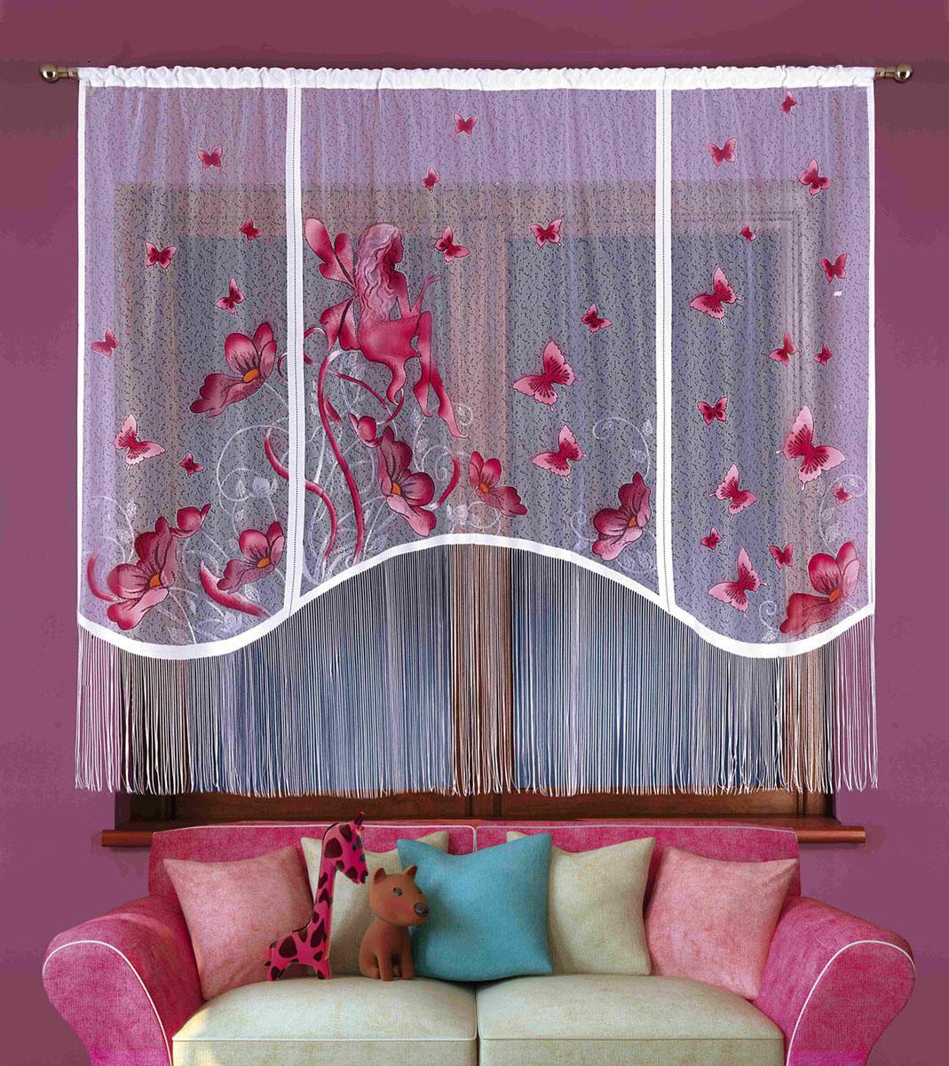 Гардина Elfik, на кулиске, цвет: белый, высота 180 см724918Воздушная гардина Elfik, изготовленная из полиэстера белого цвета, станет великолепным украшением любого окна. Нижняя часть гардины декорирована бахромой. Тонкое плетение и рисунок в виде бордовых бабочек привлекут к себе внимание и органично впишутся в интерьер. Верхняя часть гардины оснащена кулиской для крепления на круглый карниз.