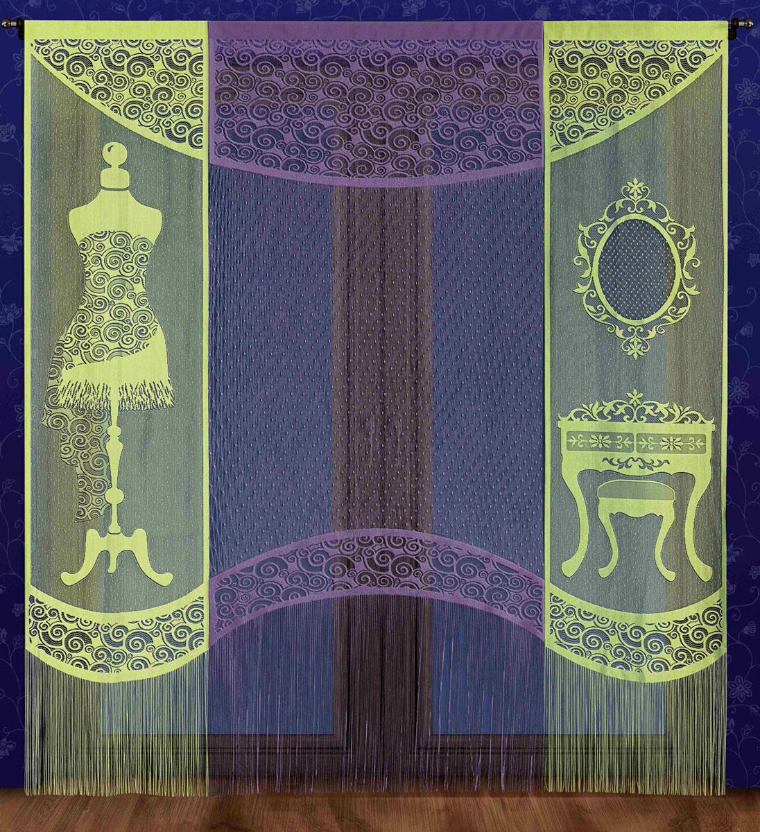 Комплект гардин-панно Garderoba, на кулиске, цвет: салатовый, фиолетовый, высота 250 см725977Комплект гардин-панно Garderoba, изготовленный из полиэстера, станет великолепным украшением любого окна. В комплект входят две салатовые гардины с изображением предметов интерьера гардеробной и одна фиолетовая гардина. Тонкое плетение, оригинальный дизайн и приятная цветовая гамма привлекут к себе внимание и органично впишутся в интерьер. Все элементы комплекта оснащены кулиской для крепления на круглый карниз. Характеристики: Материал: 100% полиэстер. Размер упаковки: 27 см х 34 см х 6 см. Артикул: 725977. В комплект входит: Гардина-панно - 2 шт. Размер (Ш х В): 60 см х 250 см. Гардина-панно - 1 шт. Размер (Ш х В): 100 см х 250 см. Фирма Wisan на польском рынке существует уже более пятидесяти лет и является одной из лучших польских фабрик по производству штор и тканей. Ассортимент фирмы представлен готовыми комплектами штор для гостиной, детской, кухни, а также текстилем для кухни (скатерти, салфетки, дорожки, кухонные...