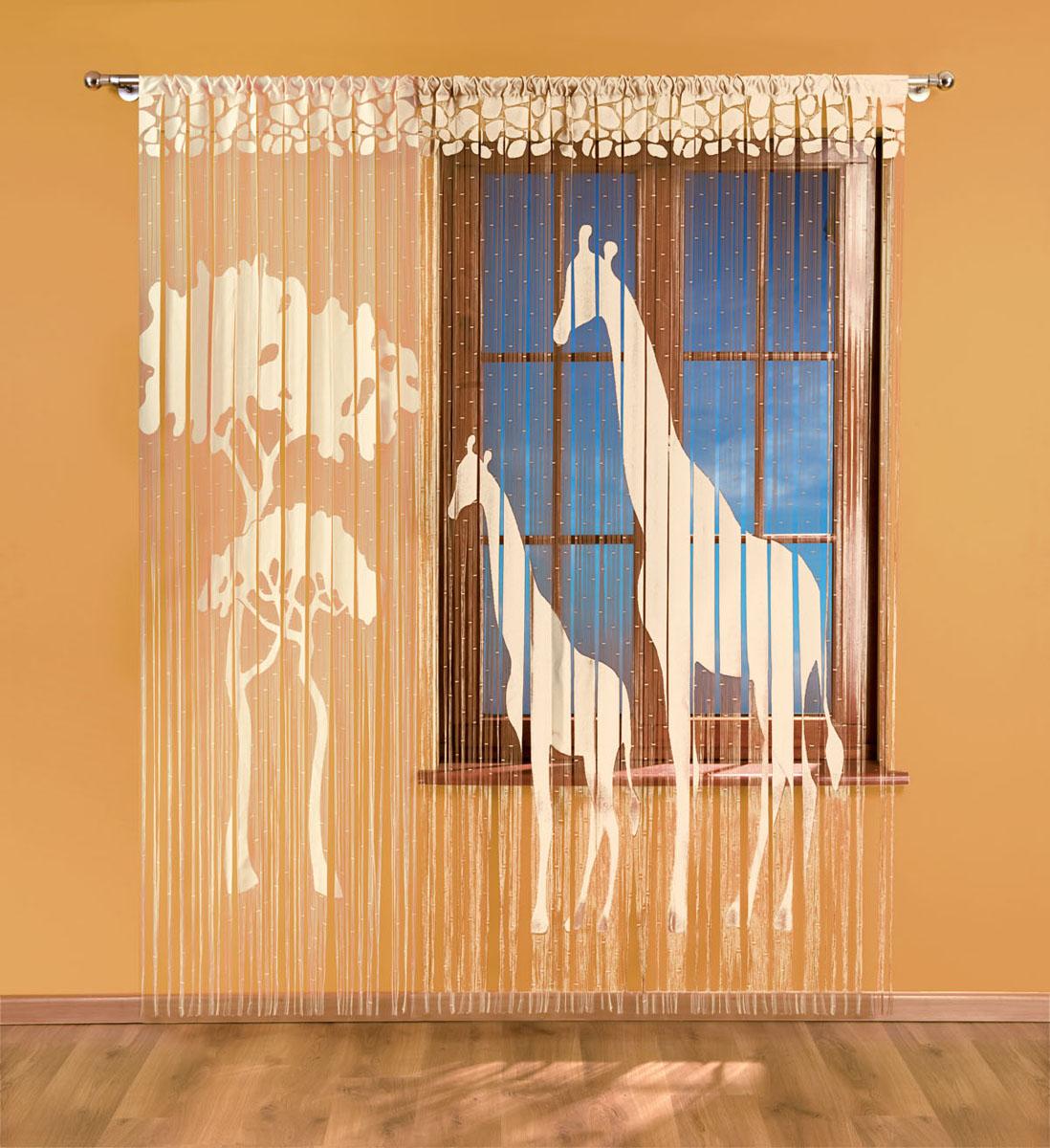 Гардина-лапша Жираф, на кулиске, цвет: кремовый, высота 240 см735013Воздушная гардина-лапша Жираф, изготовленная из полиэстера кремового цвета, станет великолепным украшением любого окна. Большое полотно гардины декорировано плотной текстурой в виде двух жирафов, а маленькое полотно деревом. Тонкое плетение, оригинальный принт привлекут к себе внимание и органично впишется в интерьер комнаты. Верхняя часть гардины оснащена кулиской для крепления на круглый карниз.