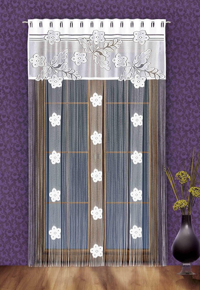 Гардина-лапша Aida, на петлях, цвет: белый, высота 250 см747146Гардина-лапша Aida, изготовленная из полиэстера белого цвета, станет великолепным украшением окна, дверного проема и прекрасно послужит для разграничения пространства. Гардина оформлена мелкой бахромой и кружевным цветочным узором. Необычный дизайн и яркое оформление привлекут внимание и органично впишутся в интерьер. Гардина-лапша оснащена петлями для крепления на круглый карниз.
