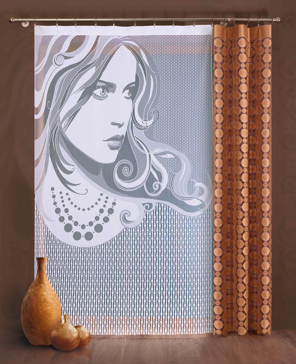 Комплект гардин-панно Wena, цвет: белый, коричневый, высота 240 см749041Комплект гардин-панно Wena, изготовленный из полиэстера, станет великолепным украшением любого окна. В комплект входит коричневая гардина с узором в виде кругов и белая гардина с изображением девушки. Тонкое плетение, оригинальный дизайн и приятная цветовая гамма привлекут к себе внимание и органично впишутся в интерьер. Предметы комплекта не оснащены крепежными элементами.