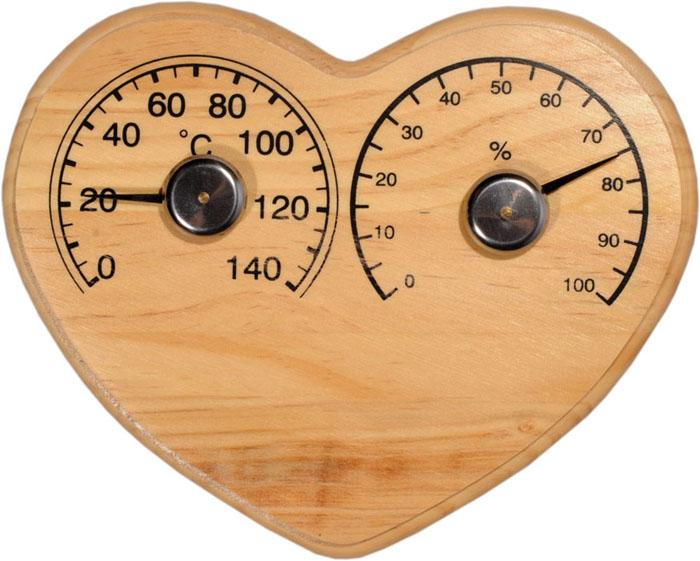 Термогигрометр Сердечко, для бани и сауны. 903584903584Русский человек любит ходить в баню, а особенно - париться. Однако следует иметь в виду, что превышение влажности и температуры в парной приводит к определенным побочным эффектам - от головокружения и тошноты, до обострения хронических заболеваний. Избежать такого рода неприятностей вам поможет термогигрометр Сердечко. Максимальная измеряемая влажность - 100%, максимальная измеряемая температура - 140 градусов Цельсия. Вы сможете контролировать влажность и температуру наслаждаться отдыхом. Характеристики: Материал: дерево, металл. Размер термогигрометра: 18 см х 13,5 см. Артикул: 903584.