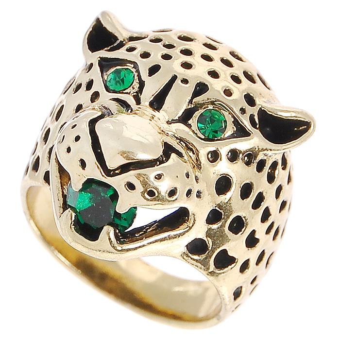 Кольцо Fashion House, цвет: золотистый. Размер 17. FH29387FH29387Оригинальное кольцо Fashion House выполнено из металла золотистого цвета в виде головы леопарда и украшено зелеными стразами. Кольцо позволит вам с легкостью воплотить самую смелую фантазию и создать собственный, неповторимый образ. Красивое и необычное это украшение блестяще подчеркнет ваш изысканный вкус и поможет внести разнообразие в привычный образ.