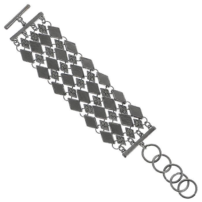 Браслет Fashion House. FH28292FH28292Оригинальный браслет Fashion House, выполненный из металла, искусственной кожи и украшенный стразами, поможет создать свой неповторимый стиль. Браслет имеет застежку на костыль. Застежка на костыль проста по конструкции и надежна в эксплуатации, так как не может открыться самопроизвольно.