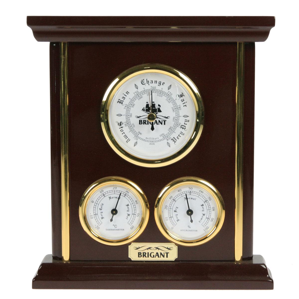 Метеостанция настольная. Барометр, термометр, гигрометр. 2805228052На панели расположены три прибора, которые одновременно показывают давление (барометр), температуру (термометр) и влажность (гигрометр) воздуха. Хромировка под золото и благородный цвет панели сделают этот предмет настоящим украшением вашего интерьера.