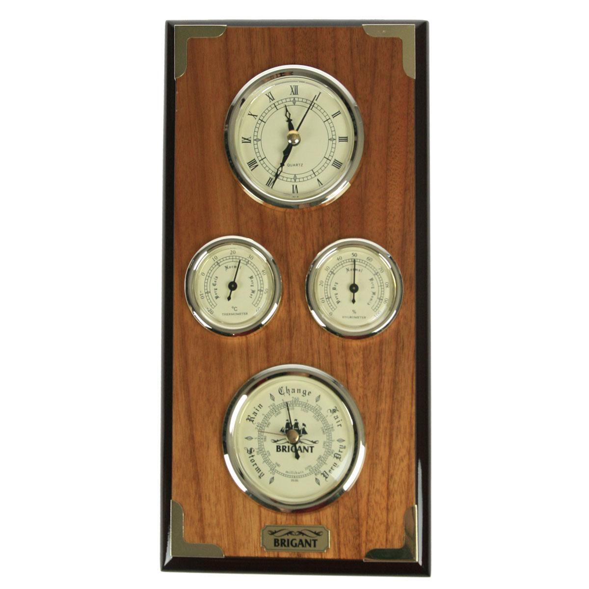 Часы-метеостанция Brigant: барометр, термометр, гигрометр, цвет: светлый орех. 2813428134Часы-метеостанция Brigant выполнены в виде деревянной лакированной панели с расположенными на ней часами, барометром, термометром и гигрометром. Модель выполнена в духе морской тематики, хромировка под золото и благородный цвет дерева делают этот предмет интерьера заслуживающим восхищения и гордости. Прилагается инструкция по эксплуатации на русском языке. Во всех барометрах Brigant используются механизмы французской фирмы Barostar, специализирующейся на выпуске барометров более ста лет. Качество изготовления продукции Brigant, применяемые материалы и технологии удовлетворяют всем жестким требованиям западноевропейских экологических стандартов, что подтверждается международными сертификатами. Барометр требует калибровки, для точного измерения давления, калибровка производится в сравнении с объявленным на данный момент атмосферным давлением в вашей местности. Метод калибровки указан в прилагающейся инструкции. Гигрометр и термометр были...