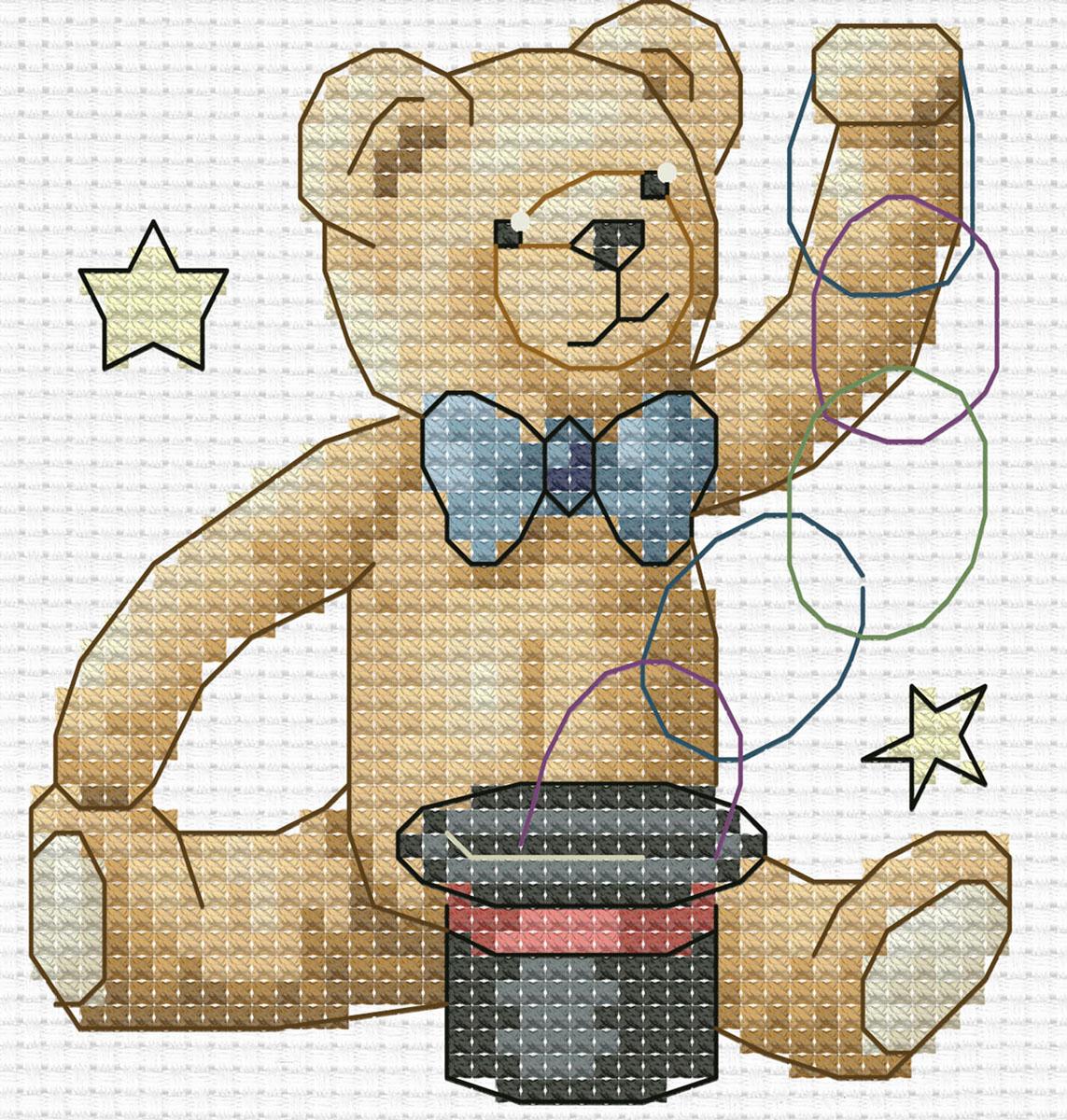 Набор для вышивания крестом Медвежонок фокусник, 17 х 18 см412-14 Медвежонок фокусникВ наборе для вышивания крестом Медвежонок фокусник есть все необходимое для создания собственного чуда: канва Аида 14 белого цвета, хлопковые мулине, цветная символьная схема, 2 иглы. Красивый рисунок-вышивка с изображением забавного медвежонка привлечет к себе внимание и будет оригинально смотреться в интерьере вашего помещения. Вышивание крестом отвлечет вас от повседневных забот и превратится в увлекательное занятие! Работа, сделанная своими руками, создаст особый уют и атмосферу в доме и долгие годы будет радовать вас и ваших близких.