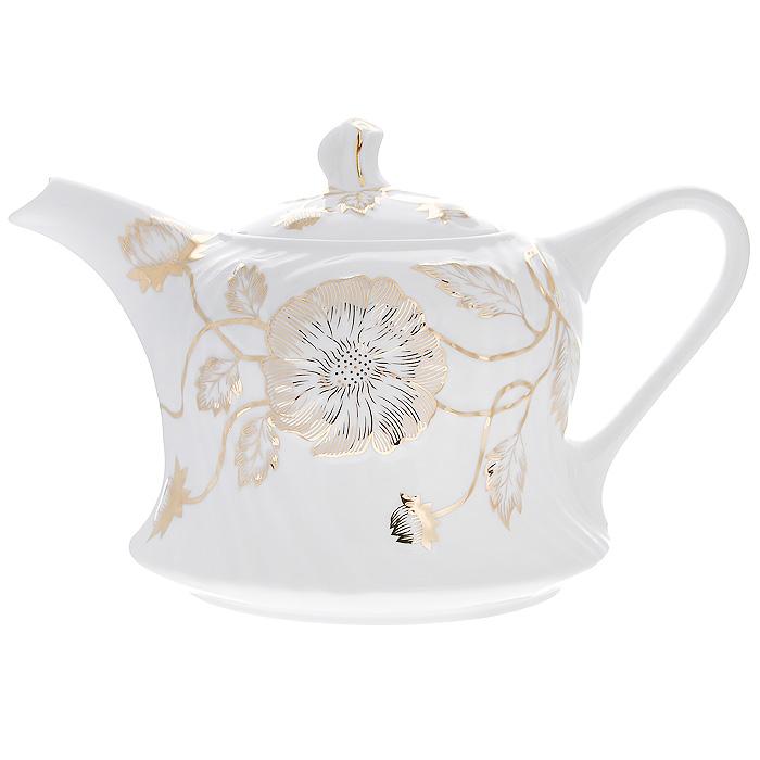 Чайник заварочный Золотой флер, 1,5 л595-166Заварочный чайник Золотой флер изготовлен из высококачественного фарфора белого цвета. Он имеет изящную форму и декорирован золотистым цветочным рисунком. Чайник сочетает в себе стильный дизайн с максимальной функциональностью. Красочность оформления придется по вкусу и ценителям классики, и тем, кто предпочитает утонченность и изысканность. Чайник упакован в подарочную коробку из плотного золотистого картона. Внутренняя часть коробки задрапирована белым атласом, и чайник надежно крепится в определенном положении благодаря особым выемкам в коробке. Характеристики: Материал: фарфор. Объем чайника: 1,5 л. Размер чайника (без крышки) (Д х Ш х В): 25 см х 16 см х 14 см. Размер упаковки (Д х Ш х В): 26 см х 18 см х 16 см. Производитель: Китай. Артикул: 595-166.