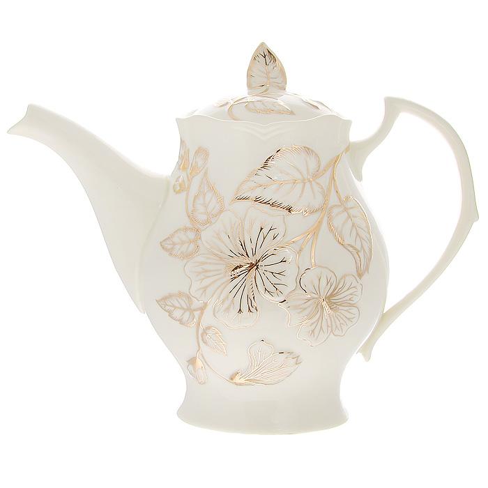 Чайник заварочный Желтый цветок, 1 л595-105Заварочный чайник Желтый цветок изготовлен из высококачественного фарфора белого цвета. Он имеет изящную форму и декорирован нежным цветочным рисунком. Чайник сочетает в себе стильный дизайн с максимальной функциональностью. Красочность оформления придется по вкусу и ценителям классики, и тем, кто предпочитает утонченность и изысканность. Чайник упакован в подарочную коробку из плотного золотистого картона. Внутренняя часть коробки задрапирована белым атласом, и чайник надежно крепится в определенном положении благодаря особым выемкам в коробке. Размер чайника (без крышки) (Д х Ш х В): 23 х 9 х 16 см.