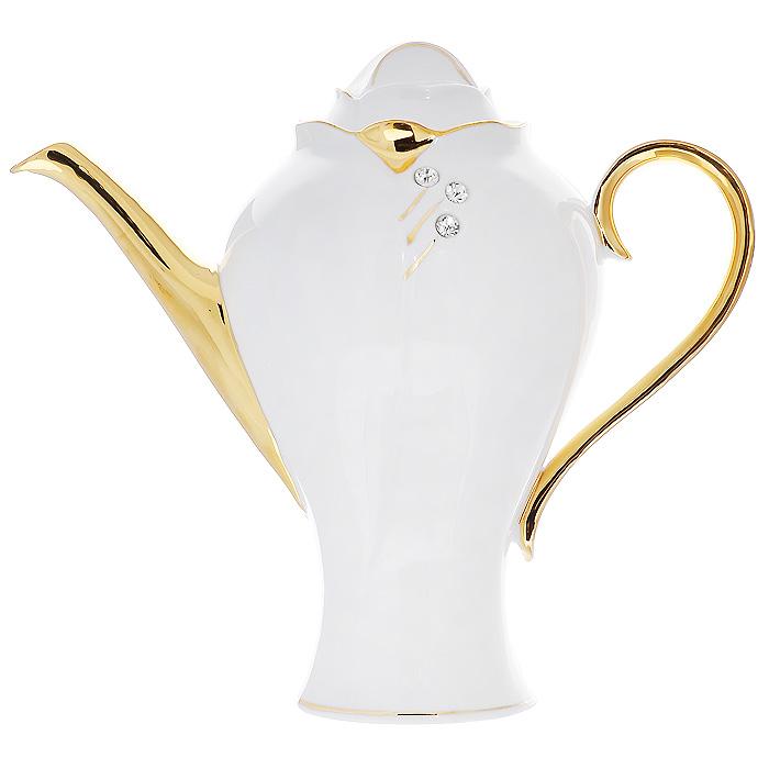 Чайник заварочный Золотая фантазия, 2 л595-035Заварочный чайник Золотая фантазия изготовлен из высококачественного фарфора белого цвета. Он имеет изящную форму и декорирован золотистым рисунком и стразами. Чайник сочетает в себе стильный дизайн с максимальной функциональностью. Красочность оформления придется по вкусу и ценителям классики, и тем, кто предпочитает утонченность и изысканность. Чайник упакован в подарочную коробку из плотного золотистого картона. Внутренняя часть коробки задрапирована белым атласом, и чайник надежно крепится в определенном положении благодаря особым выемкам в коробке. Характеристики: Материал: фарфор. Объем чайника: 2 л. Диаметр чайника: 14 см. Артикул: 595-035.