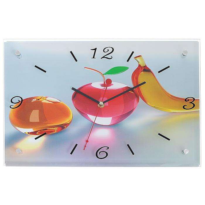 Часы настенные Висит груша, нельзя скушать, кварцевые4627078652496Настенные кварцевые часы Висит груша, нельзя скушать своим дизайном подчеркнут стильность и оригинальность интерьера вашего дома. Корпус часов прямоугольной формы выполнен из дерева, оформлен изображением стеклянных фруктов. Часы имеют три стрелки - часовую, минутную и секундную. Стрелки защищены толстым стеклом (4 мм), которое крепится четырьмя металлическими штырьками. Цифры и метки нанесены черной краской с внутренней стороны стекла. На задней стенке часов расположена металлическая петелька для подвешивания и блок с часовым механизмом. Такие часы послужат отличным подарком для ценителя ярких и необычных вещей.