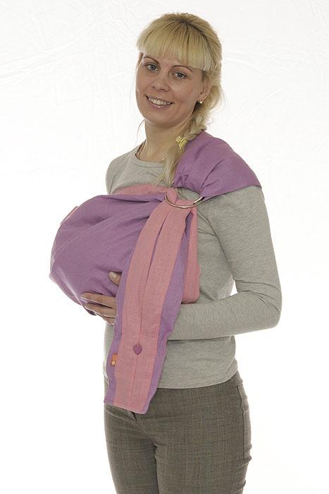 Слинг с кольцами Лен комби, цвет: сиреневый, розовый. Размер МSKNsr-00MСлинг-шарф с кольцами Лен комби - замечательный помощник для молодой мамы: освобождает руки, создает близкий контакт с малышом, позволяет покормить незаметно для окружающих, прекрасно успокаивает и усыпляет малыша, имеет множество положений, можно выбрать то, что подойдет именно вам! Этот слинг - для тех, кто ценит природную чистоту, мягкость и естественность. Он выполнен из 100% льна. Льняная ткань - одна из лучших тканей для слингов. Сделанная из экологически чистого волокна, она не липнет к телу, не позволяет коже вспотеть, отлично дышит и с каждой стиркой становится только мягче и комфортнее. В льняном слинге в жару будет чуть прохладнее, а в холода - чуть теплее, чем на открытом воздухе. Кроме того, лен - природный антисептик, обладает противоаллергенными и бактерицидными свойствами. Мягкие бортики и мягкое плечо слинга позволит вам пользоваться им с максимальным комфортом. А два вместительных кармана, расположенные на хвосте переноски, делает ее на редкость удобной в...