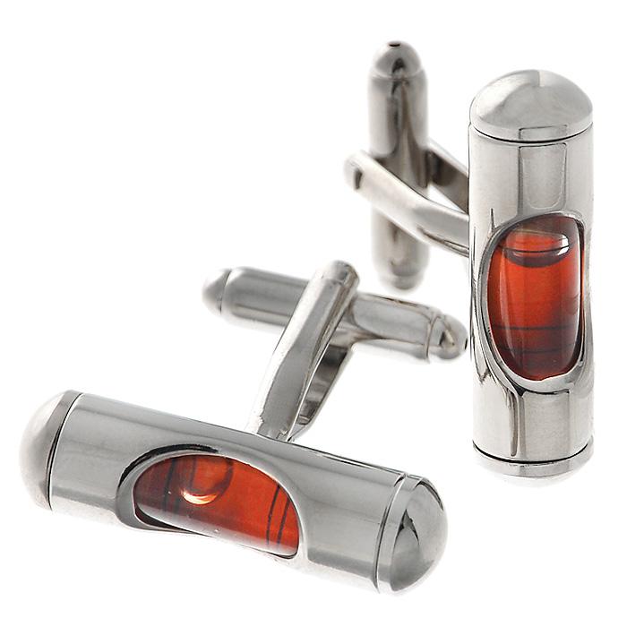 Запонки Цилиндр красный. ZAP-077ZAP-077Запонки Уровень изготовлены из серебристого металла с миниатюрными пузырьковыми уровнями с наполнением красного цвета. Такие запонки, непременно, станут объектом внимания. Мужские запонки великолепного дизайна будут отличным подарком для каждого. Запонки - символ мужской элегантности. Они являются неотъемлемой частью вечернего туалета. Выбирайте запонки в зависимости от вашего настроения, а также впечатления, которое вы хотите произвести на окружающих. Изделие упаковано в подарочную коробку.