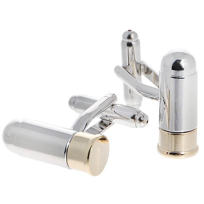 Запонки Пули двухцветные. ZAP-100ZAP-100Запонки Патроны двухцветные изготовлены из серебряного металла и выполнены в виде патронов. Такие запонки, непременно, станут объектом внимания. Мужские запонки великолепного дизайна будут отличным подарком для каждого. Запонки - символ мужской элегантности. Они являются неотъемлемой частью вечернего туалета. Выбирайте запонки в зависимости от вашего настроения, а также впечатления, которое вы хотите произвести на окружающих. Изделие упаковано в подарочную коробку.