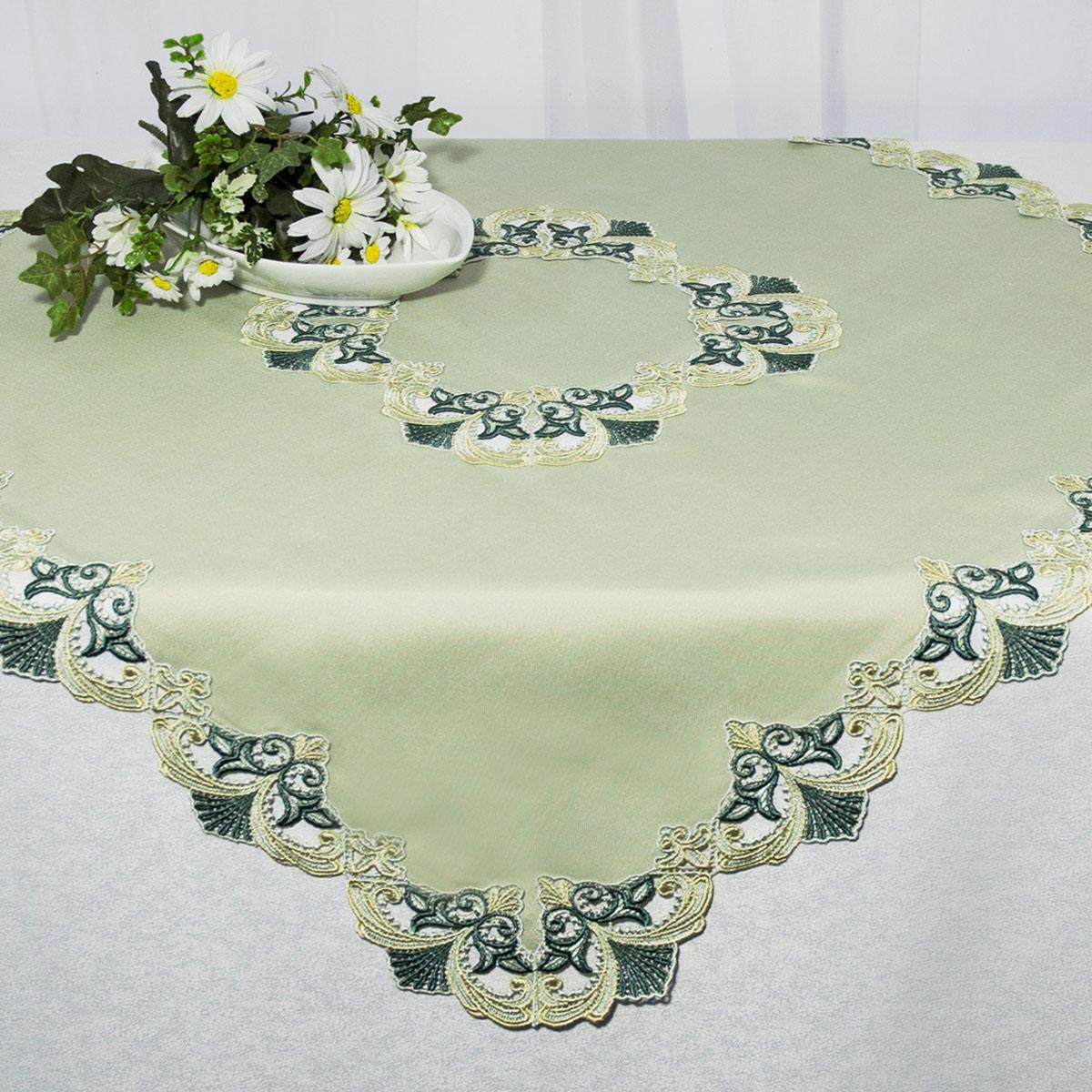 """Скатерть """"Schaefer"""", квадратная, цвет: зеленый, 90 x 90 см. 3033"""