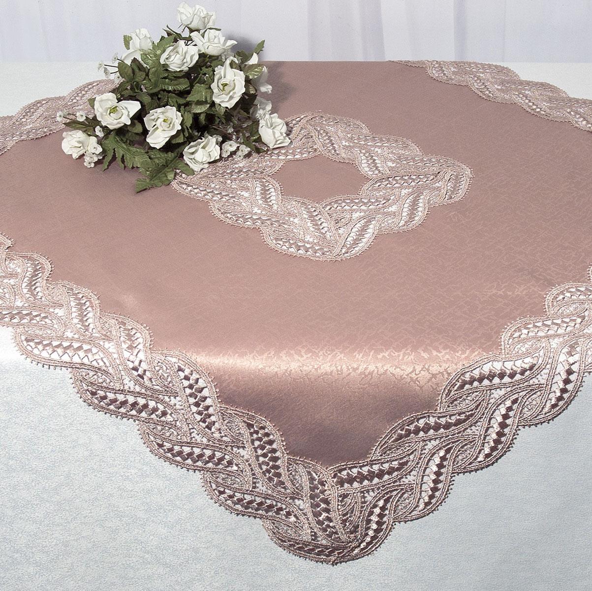 Скатерть Schaefer, квадратная, цвет: чайная роза, 85 x 85 см. 30283028Квадратная скатерть Schaefer среднего размера, выполненная из полиэстера цвета чайной розы, оформлена вышитым по краю и в центре кружевом, в тон скатерти, в технике - макраме. Изделия из полиэстера легко стирать: они не мнутся, не садятся и быстро сохнут, они более долговечны, чем изделия из натуральных волокон. Вы можете использовать эту скатерть самостоятельно, либо сверху основной, однотонной, большой скатерти. В любом случае она добавит в ваш дом стиля, изысканности и неповторимости.