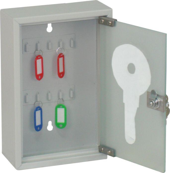 Ящик для 10 ключей Office-Force со стеклянной дверцей, цвет: серый20083Вашему вниманию предлагается специальный ящик для ключей с замком, который позволяет точно контролировать наличие всех ключей в Вашей компании. Стальной корпус покрашен методом напыления краски в черный цвет. В задней стенке расположены 2 отверстия для крепления бокса к стене. Оснащен прочными металлическими крючками для удобной систематизации ключей. В комплект входят: самоклеящиеся этикетки с номерами, бирки для ключей, крепеж для монтажа бокса на стену. Характеристики: Материал: металл, стекло. Размер ящика: 20 см х 30 см х 8 см. Цвет: серый. Размер упаковки: 21 см х 31 см х 9 см. Изготовитель: Китай. Артикул: 20083.