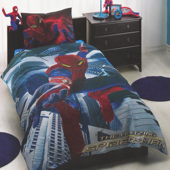 """Постельное белье """"Spiderman Movie"""" (1,5 спальный детский КПБ, ранфорс, наволочка 50х70), цвет: синий ( 3800-60069246 )"""