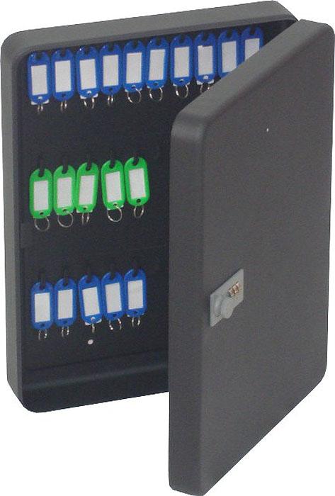 Ящик для 36 ключей Office-Force с кодовым замком, цвет: черный20092Вашему вниманию предлагается специальный ящик для ключей с кодовым замком, который позволяет точно контролировать наличие всех ключей в Вашей компании. Стальной корпус покрашен методом напыления краски в черный цвет. В задней стенке расположены 2 отверстия для крепления бокса к стене. Оснащен прочными металлическими крючками для удобной систематизации ключей. В комплект входят: самоклеящиеся этикетки с номерами, бирки для ключей, крепеж для монтажа бокса на стену.