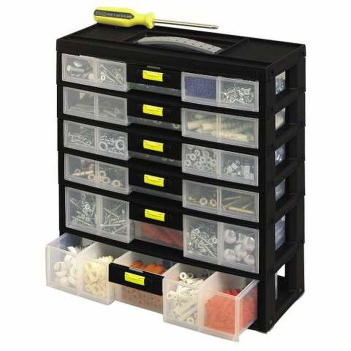 Органайзер вертикальный с 6-тью выдвижными секциями Stanley Packn Latch, 31,1 x 34,9 x 15 см1-92-086Органайзер Stanley Packn Latch выполнен в форме вертикального кейса с выдвижными ящиками, служит для хранения и транспортировки крепежных изделий. Удобная ручка обеспечивает легкую переноску. Качественное исполнение гарантирует долгий срок службы ящика. Имеет 6 съемных секций (4 неглубоких и 2 глубоких), конфигурацию которых можно изменять согласно собственных требований и предпочтений, благодаря съемным пластиковым перегородкам, можно разложить необходимые предметы в удобном порядке. Внутри каждой из 4 выдвижных секций 2 отделения размером 10 см х 15 см х 3 см, каждое из которых можно разделить на 4 отделения размером 5 см х 7 см х 3 см, и 1 отделение размером 8 см х 15 см х 3 см, которое можно разделить на 4 отделения размером 4 см х 6,5 см х 3 см. 2 нижних выдвижных отделения 28 см х 15 см х 3 см можно разделить перегородками на 4 секции размером 5 см х 15 см х 3 см и 1 секцию 7 см х 15 см х 3 см.