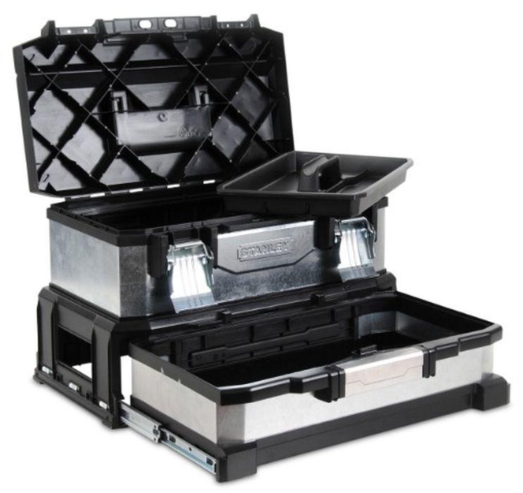Ящик для инструментов Stanley 20, 54 х 28 х 34 см1-95-830Ящик для инструмента Stanley профессиональный, двухсекционный, металлопластмассовый, гальванизированный, предназначен для инструмента. Имеет съемный лоток. Уникальная запатентованная конструкция. Ручка увеличенной ширины с мягкой вставкой для удобства переноски. Выдвижная секция на подшипниках может использоваться для хранения мелких деталей или электроинструмента. Большие металлические замки.