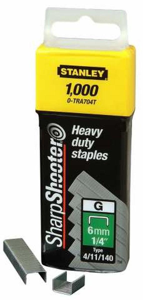 Скобы для степлера Stanley, тип G (4/11/140), 10 мм, 1000 шт1-TRA706TМеталлические скобы для степлера Stanley с заточенными концами обеспечивают быстрое и надежное скрепление материала.