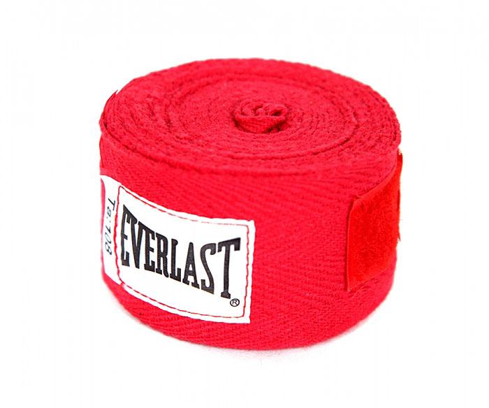 Бинты боксерские хлопковые Everlast, длина 2,75 м, цвет: красный, 2шт4455RPUПрофессиональные бинты предназначены для занятий боксом и единоборствами. Изготовлены из хлопка с добавлением полиэстера. Застежка на липучке.