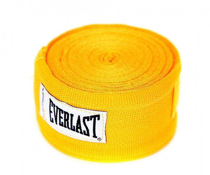 Бинты боксерские эластичные Everlast, длина 4,55 м, цвет: желтый, 2 шт4456GUПрофессиональные бинты предназначены для занятий боксом и единоборствами. Изготовлены из полиамида с добавлением полиэстера. Застежка на липучке.
