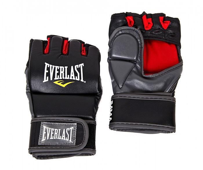 Перчатки тренировочные Everlast Grappling L/XL, цвет: черный, красный7772LXLUТренировочные перчатки для отработки захватов и ударов. Высококачественный кожзаменитель наряду с превосходным дизайном гарантируют долговечность и функциональность перчаток. Обмотки с застежкой на липучке позволяют подогнать перчатки по вашей руке, а также обеспечивают максимальную фиксацию запястья. Защита большого пальца специально сделана из двух секций для полной свободы движения.