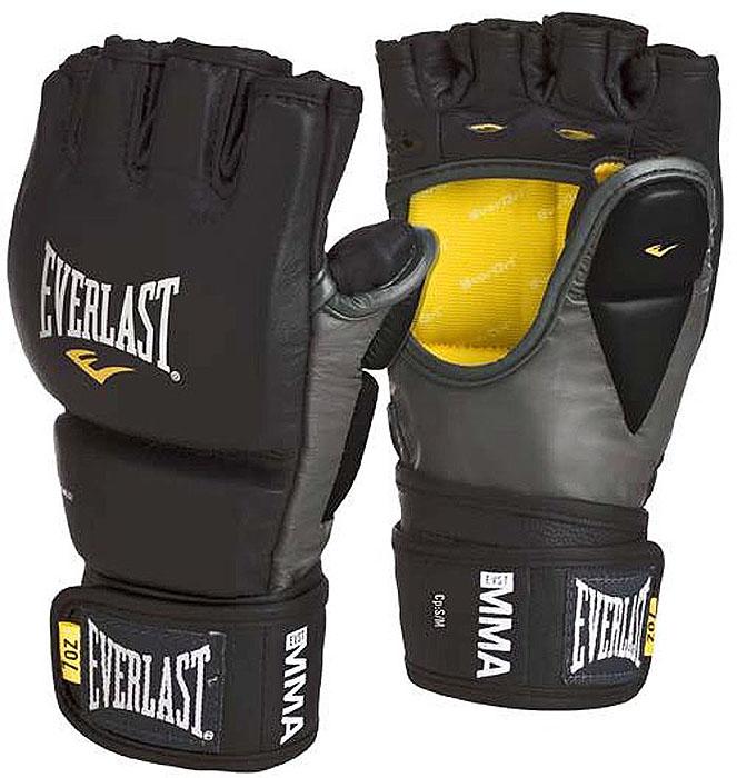 Перчатки тренировочные Everlast MMA Grappling, цвет: черный, серый. Размер L/XL7682LXLUТренировочные перчатки для отработки захватов и ударов. Высококачественная кожа наряду с превосходным дизайном гарантируют долговечность и функциональность перчаток. Обмотки с застежкой на липучке позволяют подогнать перчатки по вашей руке, а также обеспечивают максимальную фиксацию запястья. Защита большого пальца специально сделана из двух секций для полной свободы движения.