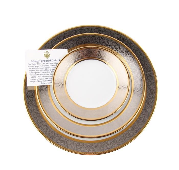 Столовый комплект Платиновый дворец. Фарфор, деколь, золочение. Faberge, Франция, конец XX века