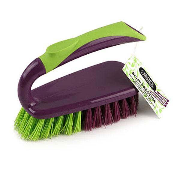 Щетка для рук Prestige, утюжок4004Щетка York в виде утюжка, станет незаменимым помощником в деле удаления пыли и мусора на небольших поверхностях. Фиолетовый ворс - мягкий, салатовый ворс - жесткий, поэтому щетка не оставит от грязи и следа.