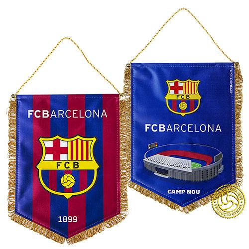 Вымпел FC Barcelona, 30 см х 22 см. 158250158250Вымпел с эмблемой футбольного клуба Barcelona. Двусторонний мягкий вымпел на металлическом стержне с металлическими наконечниками. С одной стороны вымпела изображен логотип ФК Barcelona, а с другой футбольное поле.