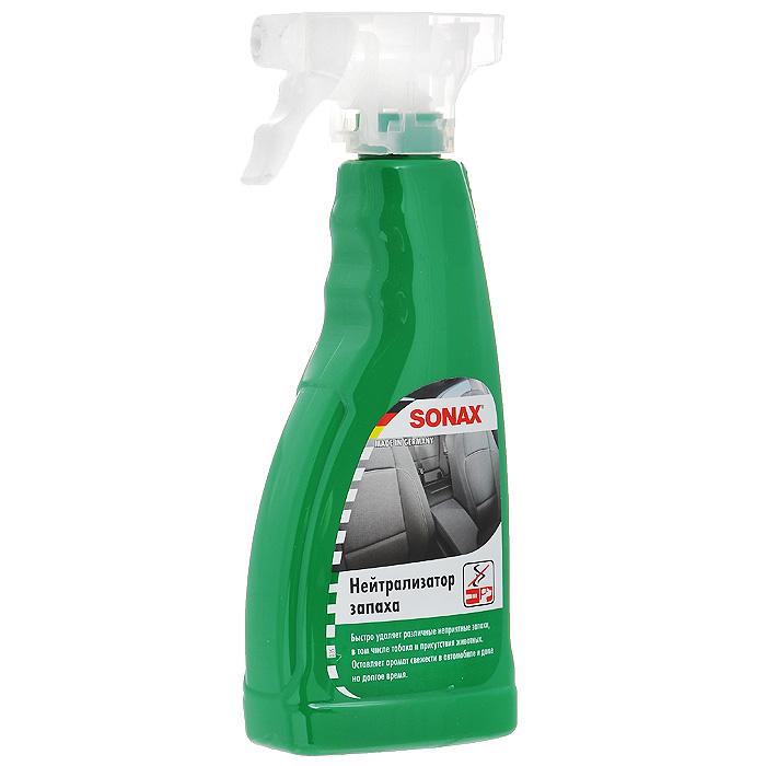 Нейтрализатор запаха Sonax, 500 мл292241Нейтрализатор запаха Sonax удаляет неприятные запахи (животных, табака) в салоне автомобиля. В отличии от обычных освежителей воздуха не маскирует неприятные запахи, а полностью их удаляет. Благодаря смеси дезодорирующих веществ обеспечивает аромат свежести в салоне. Кроме распыления в воздухе может наноситься непосредственно на обивку, текстиль, ковровые покрытия. Подходит для использования в быту.