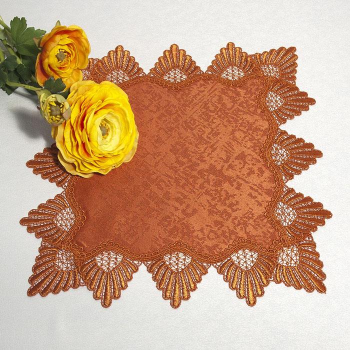 Салфетка Schaefer, цвет: терракотовый, 40 х 40 см 30273027Квадратная салфетка Schaefer, выполненная из полиэстера терракотового цвета, оформлена вышитым по краю кружевом в технике макраме. Изделия из искусственных волокон легко стирать: они не мнутся, не садятся и быстро сохнут, они более долговечны, чем изделия из натуральных волокон. Вы можете использовать салфетку для декорирования стола, комода, журнального столика. В любом случае она добавит в ваш дом стиля, изысканности и неповторимости и убережет мебель от царапин и потертостей. Характеристики: Материал: 100% полиэстер. Размер салфетки: 40 см х 40 см. Цвет: терракотовый. Артикул: 3027. Немецкая компания Schaefer создана в 1921 году. На протяжении всего времени существования она создает уникальные коллекции домашнего текстиля для гостиных, спален, кухонь и ванных комнат. Дизайнерские идеи немецких художников компании Schaefer воплощаются в текстильных изделиях, которые сделают ваш дом красивее и уютнее и не останутся...