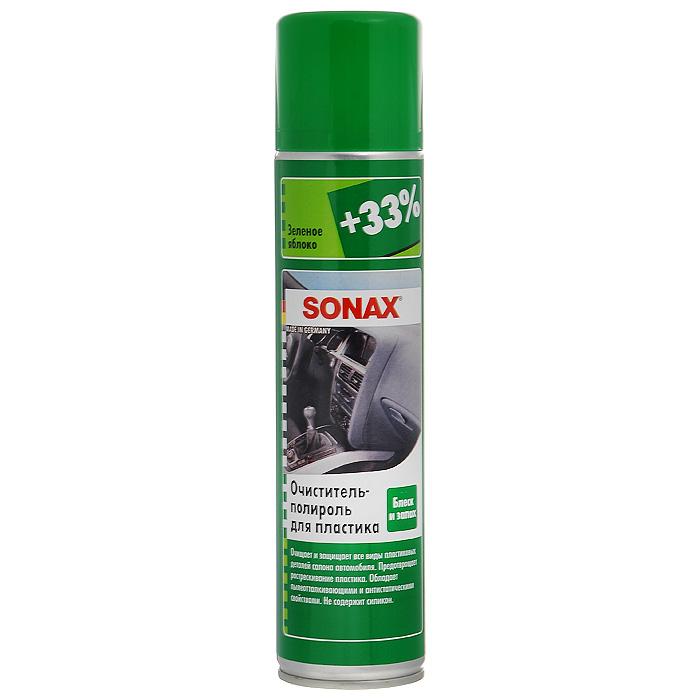 Очиститель-полироль Sonax, для пластика, зеленое яблоко, 400 мл344300Очиститель-полироль Sonax с ароматом зеленого яблока, чистит и ухаживает за всеми пластиковыми поверхностями внутри автомобиля. Придает блеск и оставляет легкий свежий аромат. Отталкивает грязь, обладает антистатическим эффектом, защищает пластик от повреждений, подходит для деревянных поверхностей. Не содержит силикон.