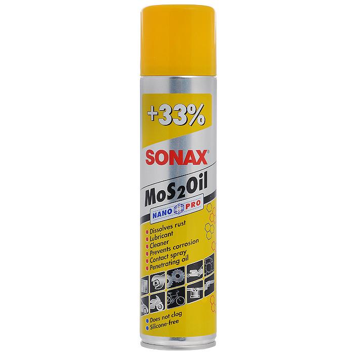 Смазка Sonax MoS2Oil NanoPro, универсальная, 400 мл339400Смазка Sonax MoS2Oil NanoPro - универсальное смазочное масло. Способствует удалению неприятных звуков. Для смазки двигательных деталей, болтов, гаек. Применяется в электроустановках, облегчает зажигание, защищает от коррозии.