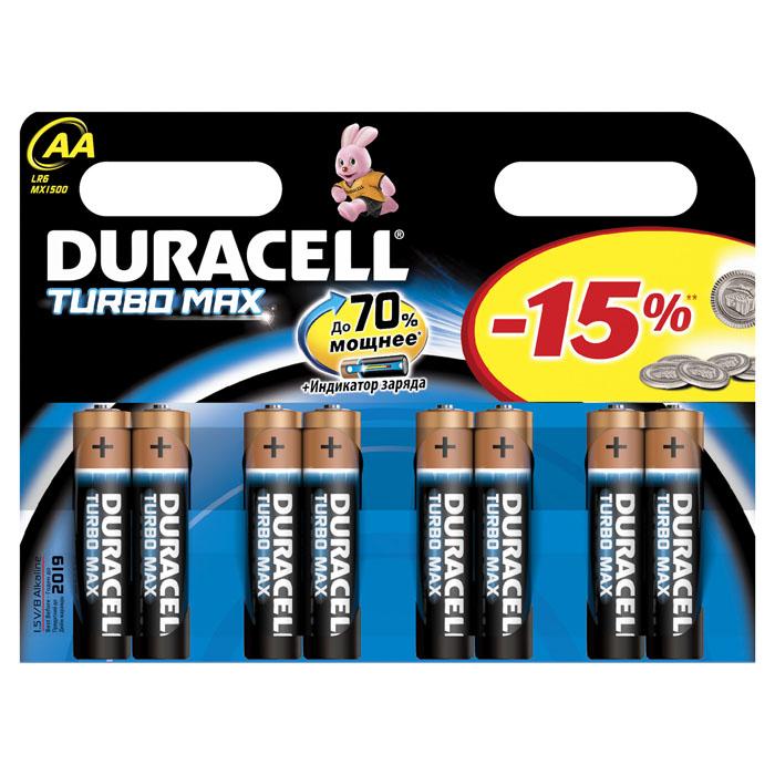 Набор алкалиновых батареек Duracell Turbo Max, тип AA, 8 штDRC-81480376Набор батареек Duracell Turbo Max предназначен для использования в различных электронных устройствах небольшого размера, например в пультах дистанционного управления, портативных MP3-плеерах, фотоаппаратах, различных беспроводных устройствах. Батарейки оснащены индикатором заряда.