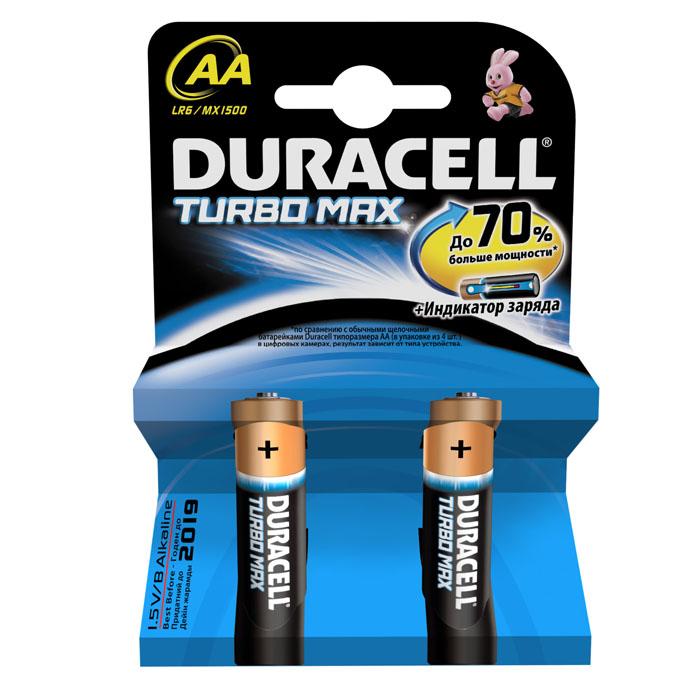 Набор алкалиновых батареек Duracell Turbo MAX, тип: AA, 2 штDRC-81480365Duracell Turbo Max является одной из наиболее мощных щелочных батареек среди представленных на рынке. Линейка Duracell Turbo Max разработана специально для применения в высокотехнологичных приборах, которым требуются источники энергии особой мощности. Не разбирать, не перезаряжать, не подносить к открытому огню. Не устанавливать одновременно новые и использованные батарейки, а также батарейки различных марок, систем и типов. При установке соблюдать полярность (+/-). Хранить в недоступном для детей месте. Характеристики: Тип элемента питания: AA (LR6). Размер упаковки: 8,4 см x 1,5 см x 12 см. Комплектация: 2 шт.