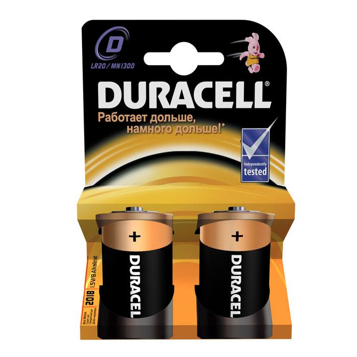 Набор батареек Duracell, тип D (LR20), 2 штDRC-81483648Щелочные элементы питания Duracell - оптимальный выбор для использования в современных приборах, таких изделиях как плееры, фонари, пульты дистанционного управления, фотовспышки, часы, диктофоны, электронные игрушки, переносные ТВ и т.д. Не разбирать, не перезаряжать, не подносить к открытому огню. Не устанавливать одновременно новые и использованные батарейки, а также батарейки различных марок, систем и типов. При установке соблюдать полярность (+/-). Хранить в недоступном для детей месте. Характеристики: Тип элемента питания: D. Тип электролита: щелочной. Выходное напряжение: 1,5 В. Комплектация: 2 шт. Изготовитель: Бельгия.