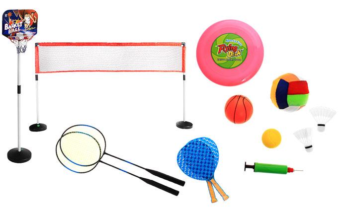 WSBD World Детский комплект для спорта Sport SeriesZY1107Комплект для спорта Sport Series прекрасно подойдет для детей, которые любят весело и активно проводить время. Комплект включает в себя баскетбольную стойку с кольцом, сетку для бадминтона, волейбола и тенниса, две ракетки для бадминтона, две теннисные ракетки, волан, баскетбольный, волейбольный и теннисный мячи, тарелку фрисби и насос. Стойки для баскетбольного кольца и сетки сборные, что позволяет увеличить или уменьшить их высоту, соответственно росту ребенка. Спортивные игры развивают ловкость, силу, глазомер и быстроту реакции. Характеристики: Материал: металл, пластик, нейлон, текстиль. Максимальная высота баскотбольной стойки: 148 см. Размер сетки: 206 см х 42 см. Максимальная высота сетки: 126 см. Диаметр баскетбольного мяча: 5 дюймов (12,5 см). Диаметр волейбольного мяча: 5 дюймов (12,5 см). Диаметр теннисного мяча: 2,5 дюйма (6,3 см). Диаметр фрисби: 9 дюймов (23 см). Размер теннисной ракетки: 19 см х 35,5 см х 2,5 см. ...