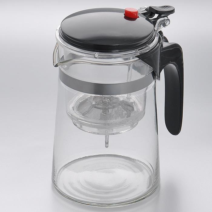 Чайник заварочный Mayer & Boch, с клапаном, цвет: черный, 0,5 лMB4026Заварочный чайник Mayer & Boch, выполненный из высококачественного стекла, практичный и простой в использовании. Съемный фильтр чайника оснащен водозапорным пластиковым клапаном, а в крышке имеется кнопка клапана. Пока кнопку клапана не нажимаете, чай не вытекает из фильтра, тем самым вы регулируете крепость напитка, его вкус и аромат. Современный дизайн полностью соответствует последним модным тенденциям в создании предметов бытовой техники. Характеристики: Материал: нержавеющая сталь, стекло, пластик. Объем: 0,5 л. Высота (с учетом крышки): 14,5 см. Диаметр колбы по верхнему краю: 8 см. Высота стенки колбы: 13 см. Размер фильтра: 8 см х 8 см х 9,5 см. Артикул: MB4026.