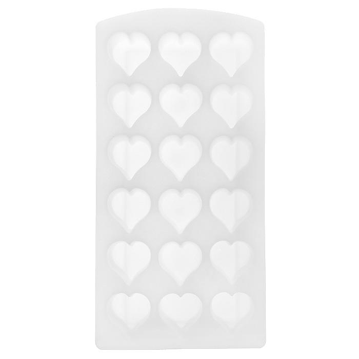 Форма для льда Сердце, цвет: белый, 18 ячеек25.35.27Форма для льда Сердце выполнена из силикона. На одном листе расположено 18 формочек в виде сердец. Благодаря тому, что формочки изготовлены из силикона, готовый лед вынимать легко и просто. Чтобы достать льдинки, эту форму не нужно держать под теплой водой или использовать нож. Теперь на смену традиционным квадратным пришли новые оригинальные формы для приготовления фигурного льда, которыми можно не только охладить, но и украсить любой напиток. В формочки при заморозке воды можно помещать ягодки, такие льдинки не только оживят коктейль, но и добавят радостного настроения гостям на празднике! Размер общей формы: 23 см х 11,5 см х 2,5 см. Размер одной формочки: 3 см х 3 см.