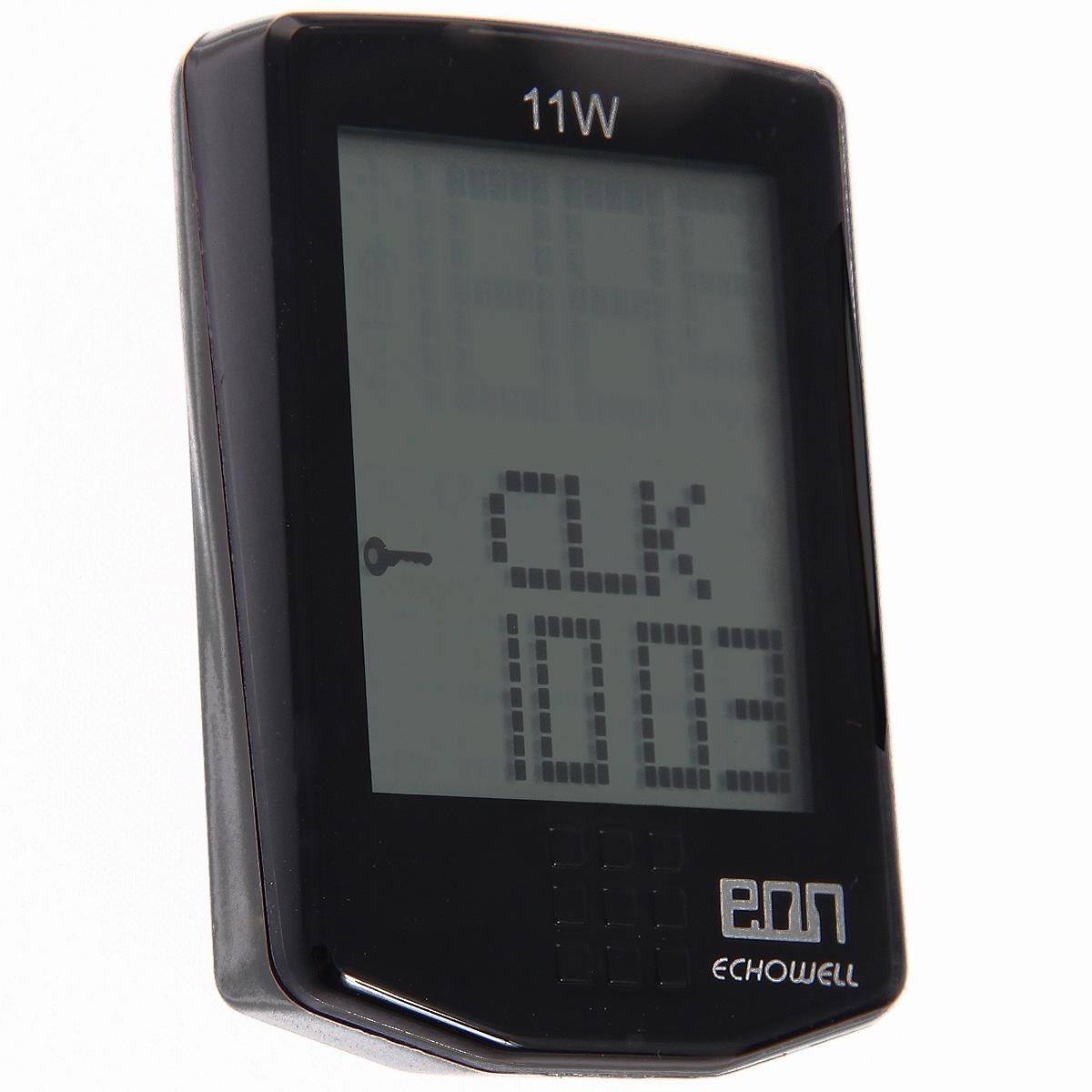 Велокомпьютер Eon-11W, 11 функций, цвет: черный30249Беспроводной велокомпьютер Eon-11W с одиннадцатью функциями в стильном корпусе предназначен для использования при занятиях велоспортом, велотуризмом и просто катании на велосипеде. Имеет отличную водо и пылезащиту. Все операции и настройки выполняются одной сенсорной кнопкой Велокомпьютер определяет скорость с точностью до десятых долей, дистанцию - с точностью до 10 метров. Расстояние может измеряться в километрах или милях по выбору. На дисплее функции поочередно сменяют друг друга. Язык - английский. Прилагается инструкция на русском и английском языках.