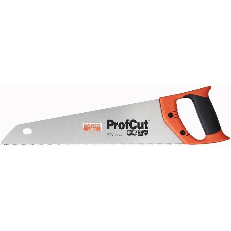 Ножовка по дереву Bahco ProfCut, 38 смPC-15-TBXНожовка по дереву Bahco предназначена для пиления среднеразмерных заготовок из древесины мягких и твердых пород, фанеры, ДСП, ПХВ. Эргономичная рукоятка позволяет точно вести инструмент во время работы. Закаленные зубья GT-геометрии с 3-сторонней заточкой обеспечивают удивительную долговечность и скорость пиления. Двухкомпонентная рукоятка позволяет размечать углы в 45° и 90°.