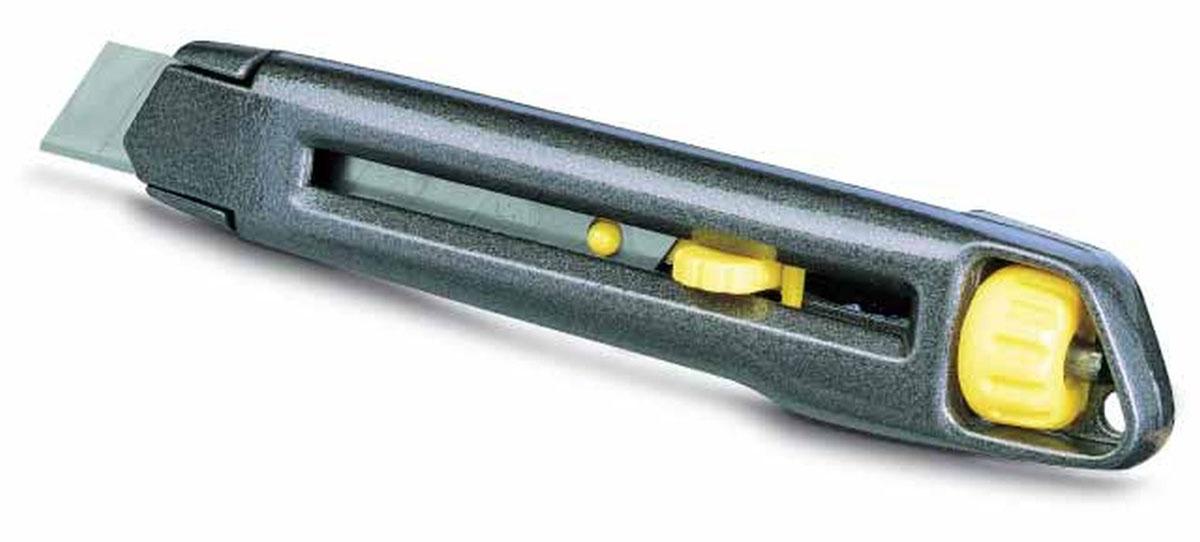 Нож Stanley c системой фиксации лезвия Interlock, 18 мм0-10-018Нож Stanley c системой фиксации лезвия предназначен для работы с бумагой, плотным картоном, пленкой и т.д. Корпус ножа выполнен из металла. Выдвижное многосекционное лезвие изготовлено из высококачественной нержавеющей стали. Нож оснащен системой блокировки Interlock.
