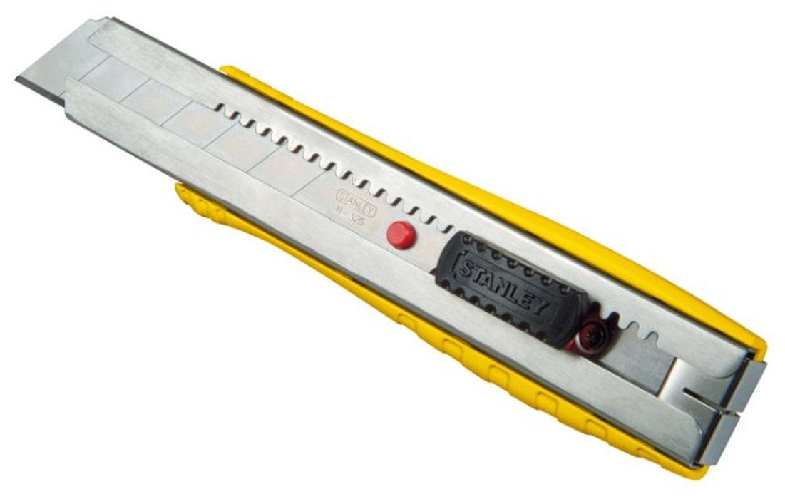 Нож Stanley FatMax c системой фиксации лезвия Auto-lock, 25 мм0-10-431Нож Stanley FatMax c системой фиксации лезвия предназначен для работы с бумагой, плотным картоном, пленкой и т.д. Корпус ножа выполнен металла. Выдвижное многосекционное лезвие изготовлено из высококачественной нержавеющей стали. Нож оснащен системой блокировки Auto-lock.